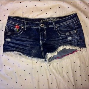 Almost Famous denim shorts lace embroidered boho